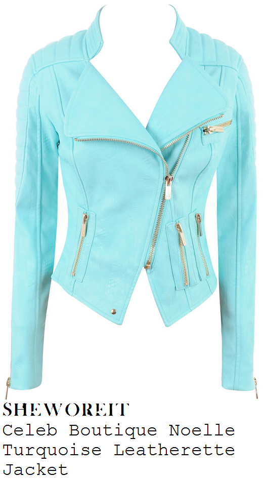 chloe-sims-bright-aqua-turquoise-faux-leather-biker-jacket
