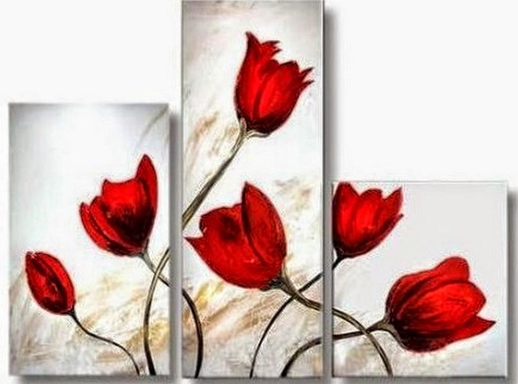 Cuadros pinturas oleos cuadros de flores tripticos - Cuadros con fotos ...