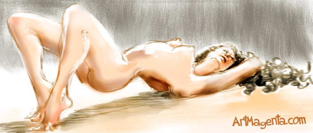 Figure drawing from a nude model by ArtMagenta