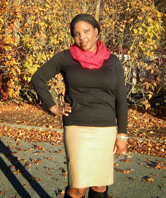 Brown Skirt modest, Nine West black boots, Red Infinity Scarf, TJ maxx find