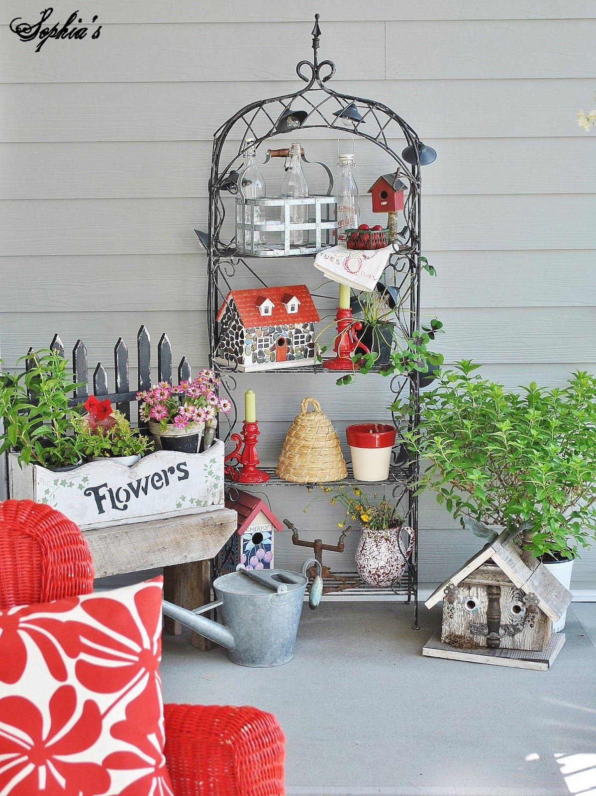 Sophia's: Farmhouse Style Front Porch with Pops of Red