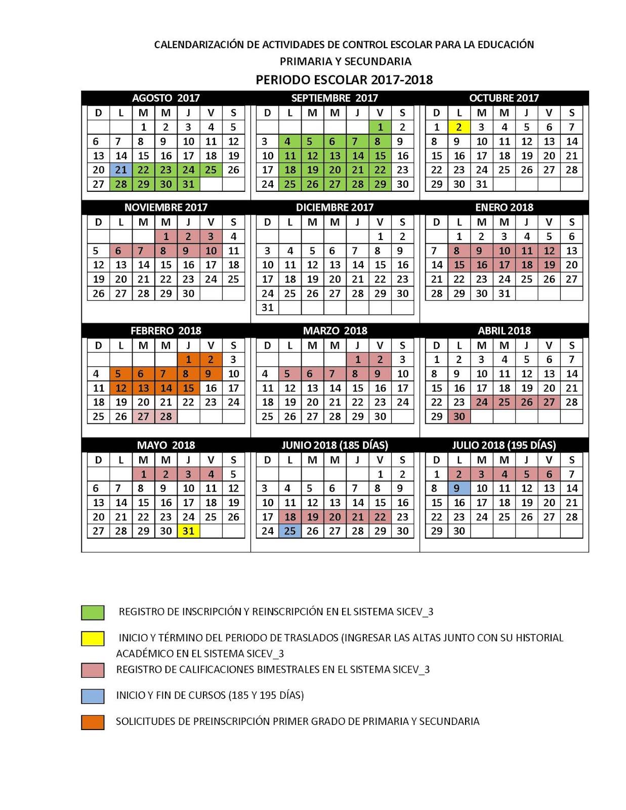 Calendario Control Escolar 2017-2018