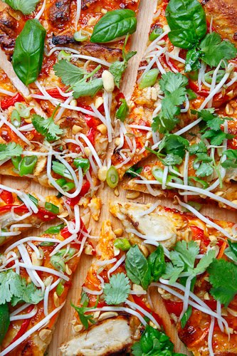 Thai Chicken Pizza with Sweet Chili Sauce on Closet Cooking