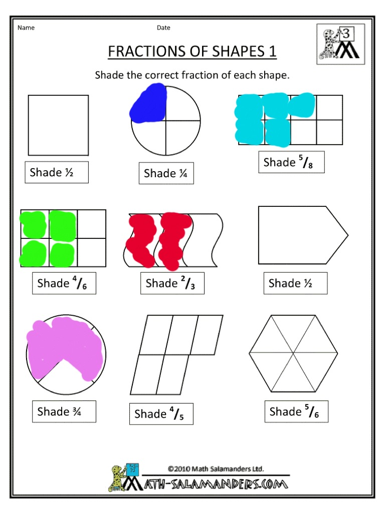 Printable fractions worksheets ks1