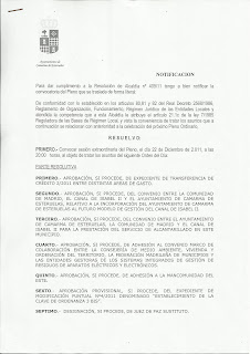 Camarma:  ORDEN DEL DA DEL PLENO EXTRAORDINARIO 22/12/11  (IU)