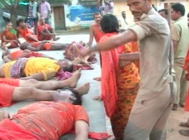Stampede at Baidyanath temple Deogarh: 11 dead and over 30 injured.