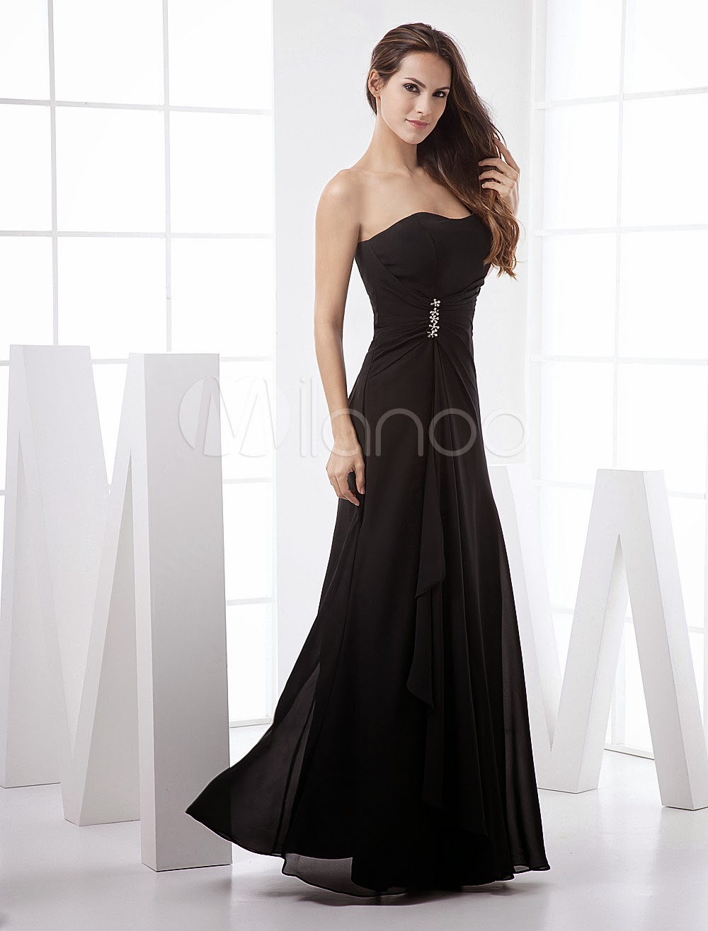 China Wholesale Dresses - Slim Black Chiffon Strapless Floor Length Bridesmaid Dress