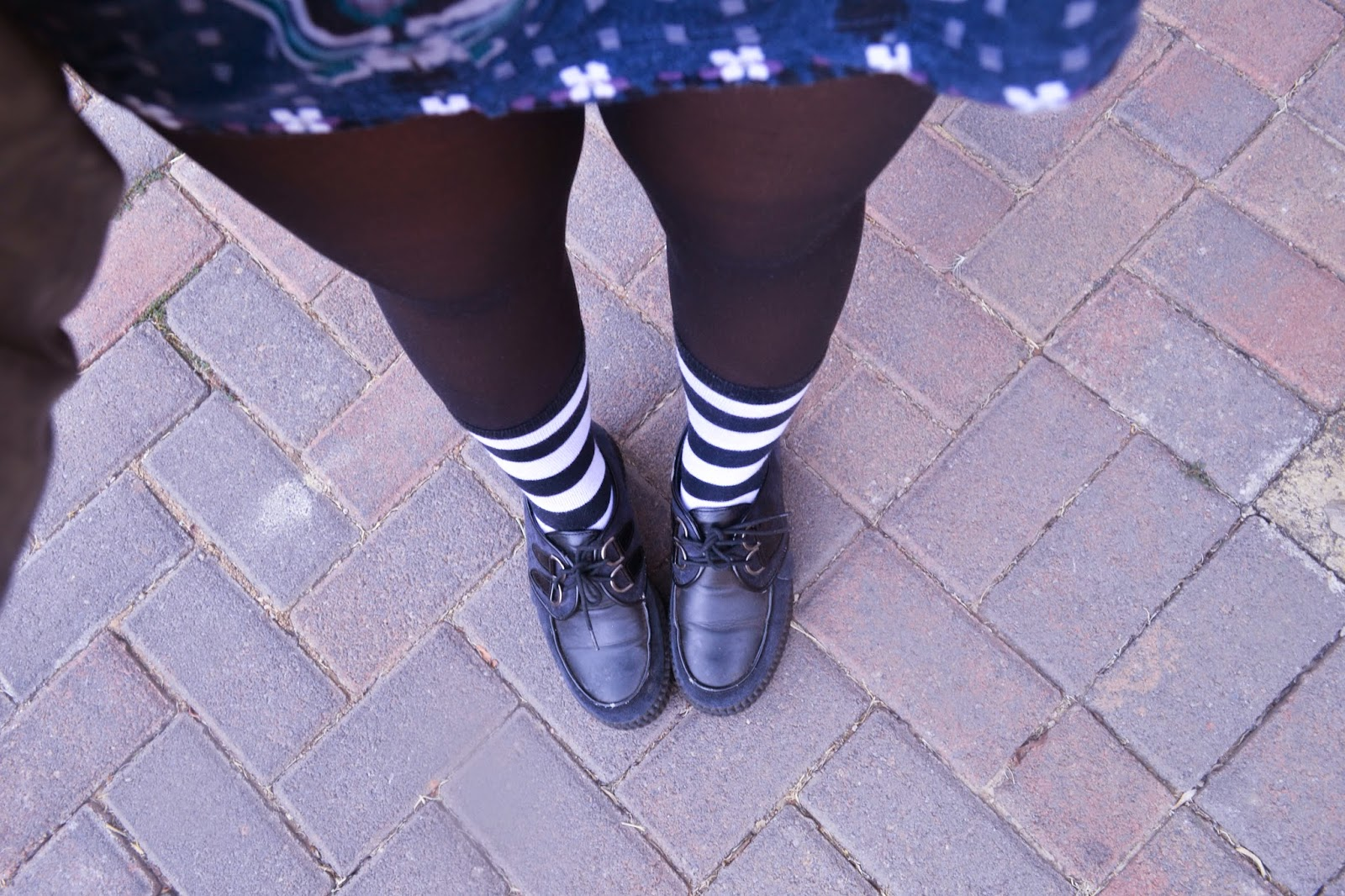 navy creepers socks over tights