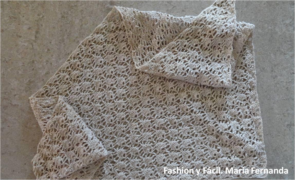 Fashion y Fácil : Chal o cuello tejido a ganchillo. Triángulo de ...