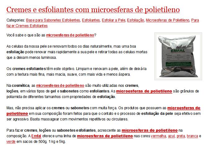 Microesferas de polietileno são vendidas livremente na internet