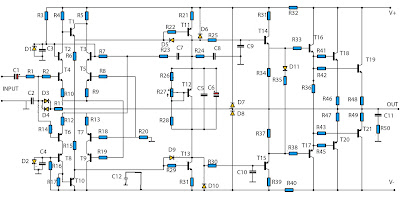 1400W amplifier schematics circuit