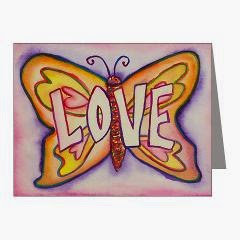 Love Word Pink Butterfly Note Cards
