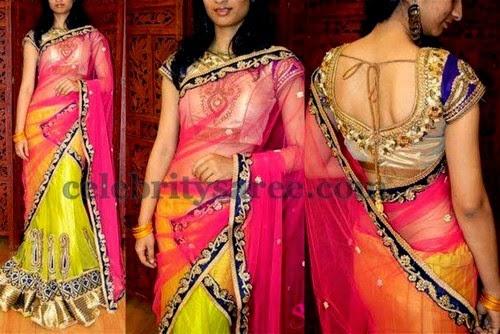 Glitter Half Sari with Work Blouse