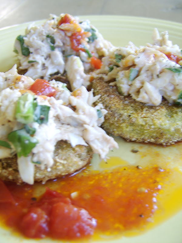 Fried Green Tomatoes With Crab Remoulade Recipe — Dishmaps