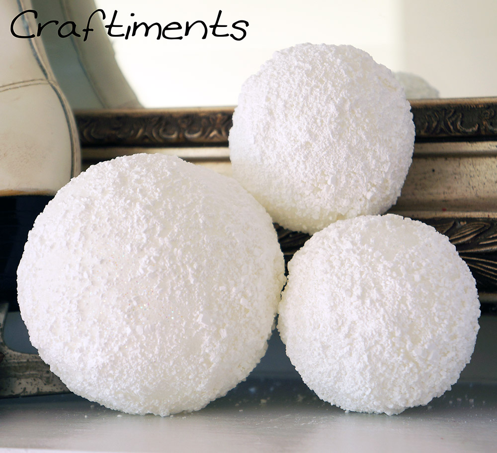 Craftiments:  Faux snowballs made from Styrofoam, glue, Epsom salt and glitter