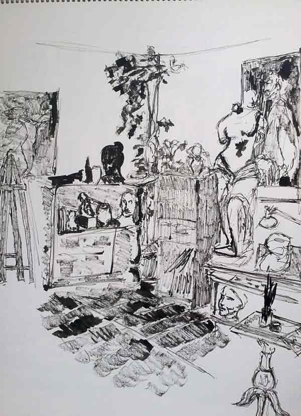 boceto de tinta del estudio