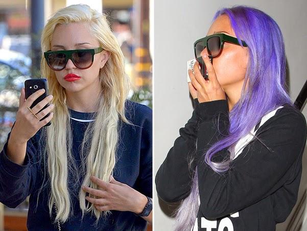 Crazy  Amanda Bynes hair dyed in purple
