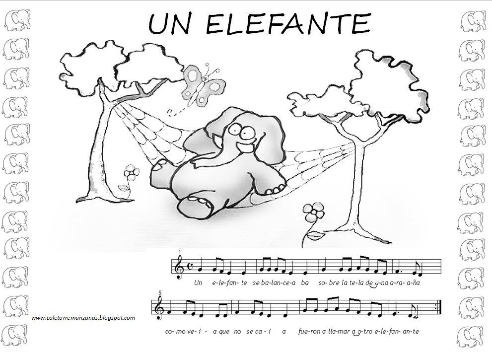 Canción popular: Un elefante se Balanceaba Partitura para Flauta ...