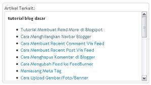 Cara Membuat Related Post atau Artikel Terkait dengan Sroll Box