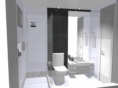 Projeto banheiro bancada em mármore carrara e pastilhas de vidro preta