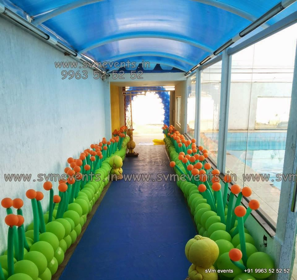 Svm events balloon wall balloon themes balloon for Balloon decoration on wall for birthday