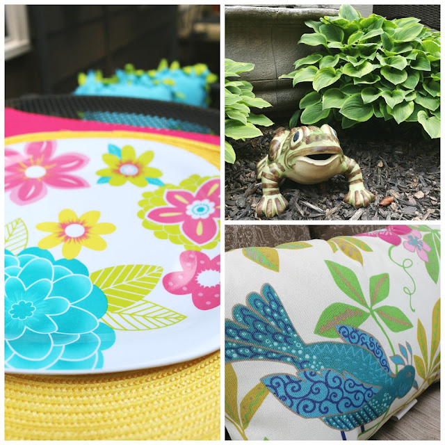 colorful pillow, colorful table setting, and fun frog accessories