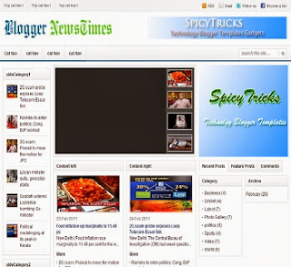 Blogger News Time - Free News Blogger Template
