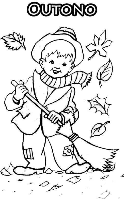 imagens para colorir sobre o outono - Desenhos de Outono para colorir pintar imprimir! Espaço