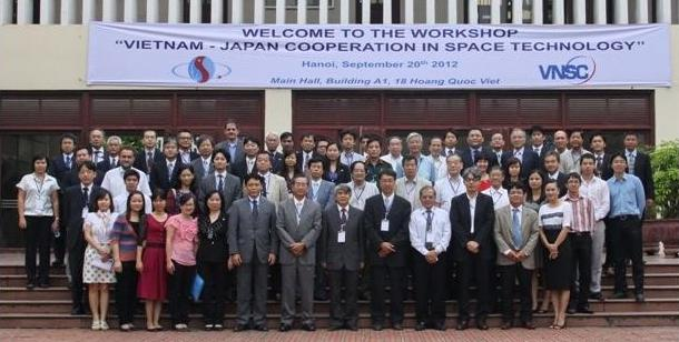 """Together with the success of the Ground Breaking Ceremony of Vietnam Space Center Project on 19/09/2012, the Workshop """"Vietnam - Japan cooperation in Space Technology"""" was organized on 20/09/2012 at Main Hall, Building A1, Vietnam Academy of Science and Technology (VAST). Credit: vnsc.org.vn"""