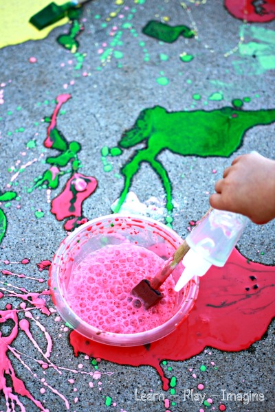 Erupting sidewalk chalk paint - simple homemade paint recipe kids will love!