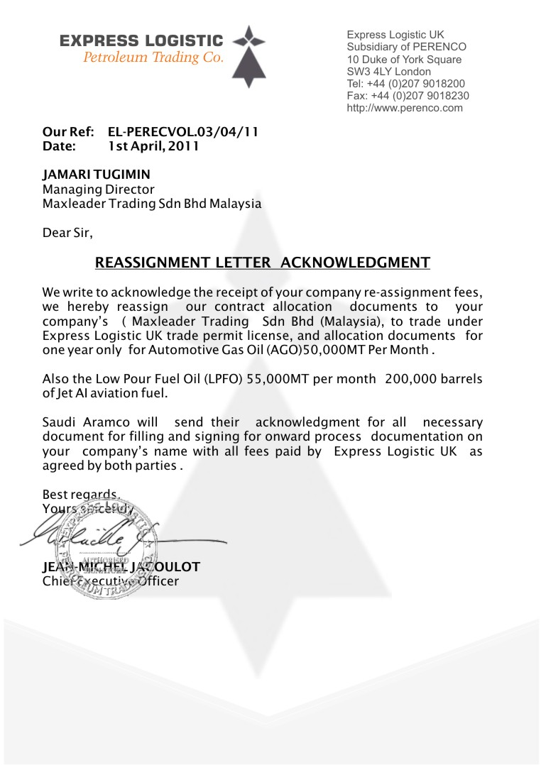 Letter Of Assignment