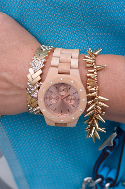 Jord Sidney watch, J Crew Factory Chevron Stretch Bracelet, Yuni Kelley spike gold bracelet, arm party