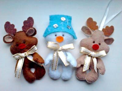 , снеговик из фетра, олененок из фетраигрушки из фетра, новогодние игрушки, а