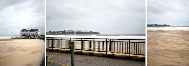 Three photos of Hampton Beach, New Hampshire. One of the amphitheater and two looking out to sea with beach in the foreground, rough seas, and gray skies in the background.