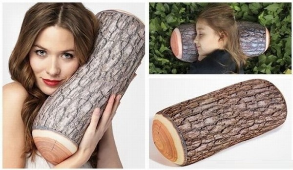 Wow Funny pillows like a tree trunk....