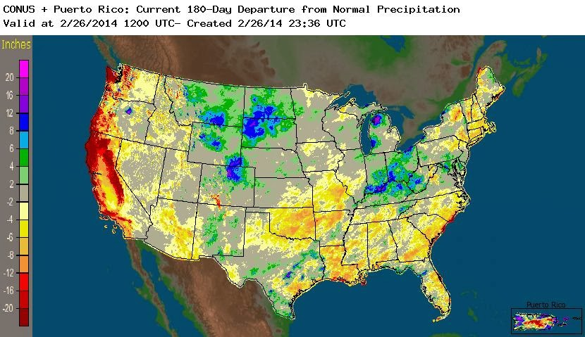 The Most Severe Winter Precipitation Shortfalls Some Over 20 Inches Are Cered Along The West Coast Reflecting A Practically Non Existent Winter