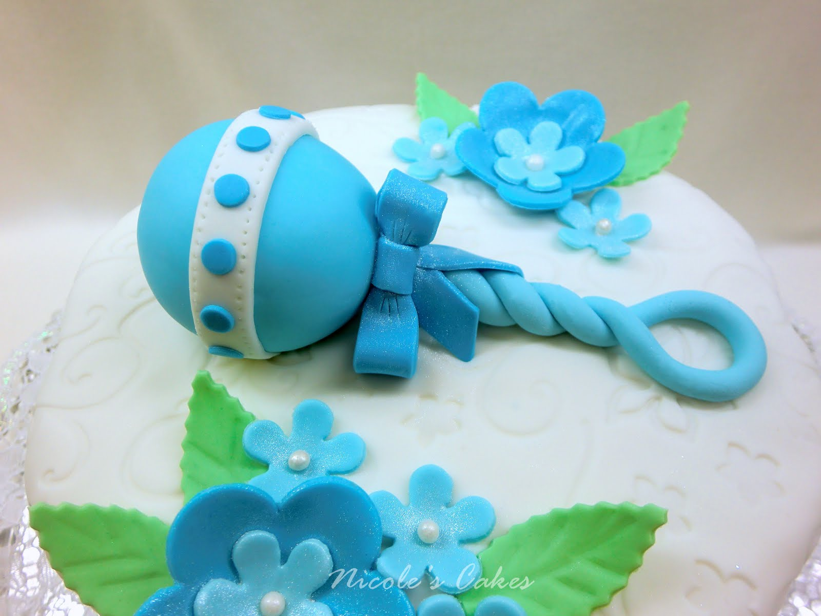 Confections Cakes & Creations Beautiful Blue Baby Shower Cake