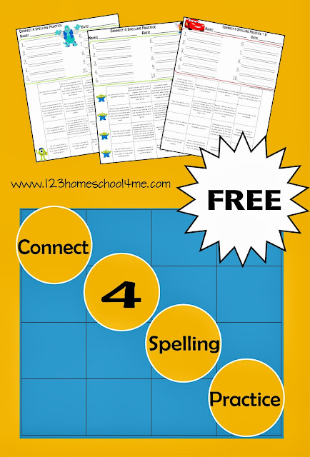 Connect 4 Spelling Practice - FREE Spelling Worksheet for Kindergarten, 1st Grade, 2nd Grade, 3rd Grade, 4th Grade