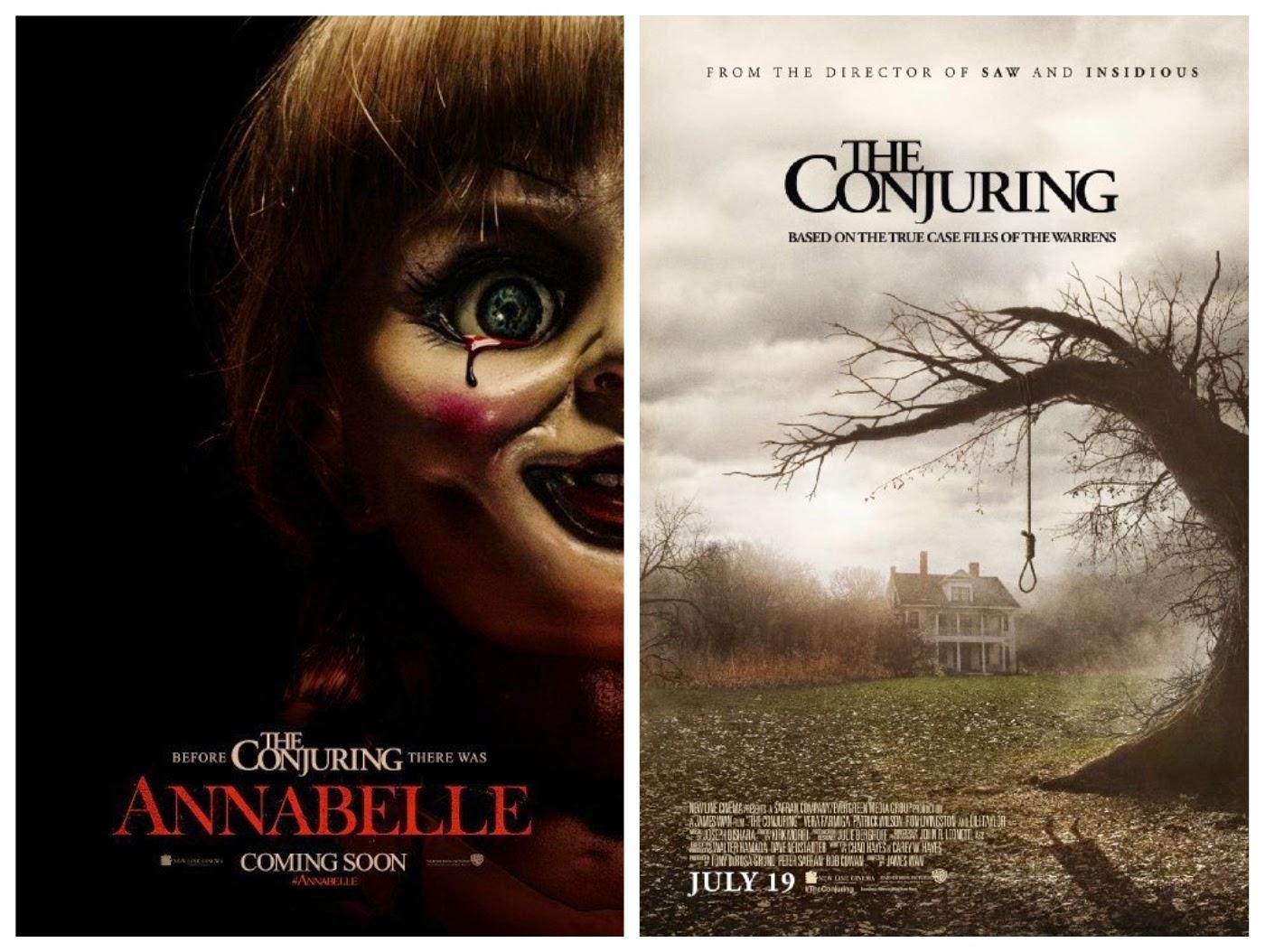 cartazes dos filmes: Annabele (2014) e Invocação do Mal (2013)