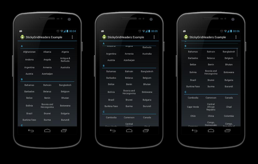 Example App Portrait Screenshots