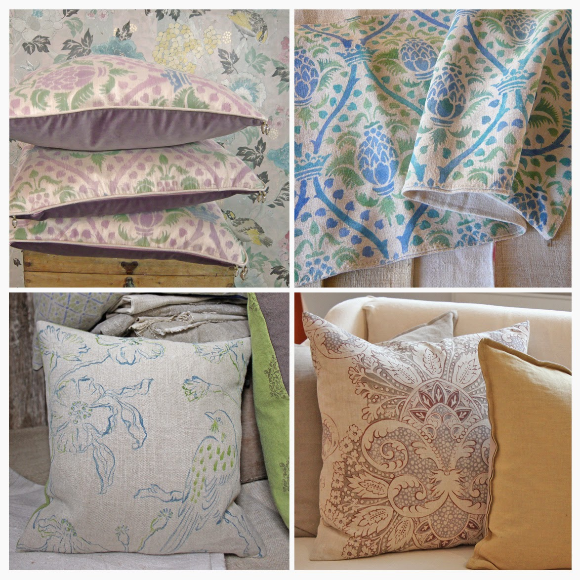 hand painted and printed cushions