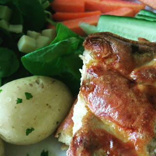 Salmon Quiche with Salad and New Potatoes