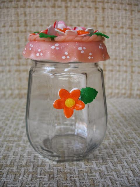 vidro em biscuit, flores