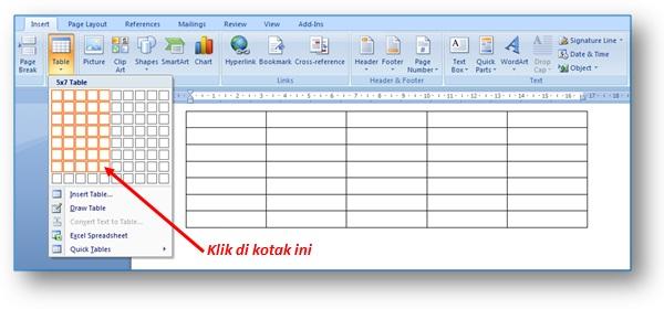 Gambar: Contoh cara membuat tabel ukuran 5 kolom dan 7 baris di Microsoft Word 2007