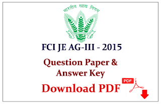 FCI Junior Engineer Assistant Grade III Question Paper with Answer (Held on 02.08.2015) Download