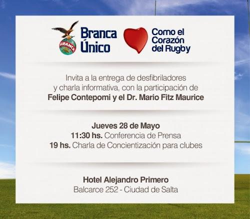 Fernet Branca prsenta su campaña BRANCA UNICO COMO EL CORAZON DEL RUGBY en Salta