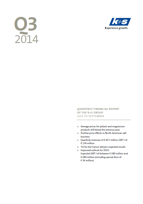 K+S, Q3, 2014, front page