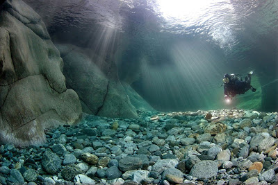Great lightning in the Verzasca River in Switzerland