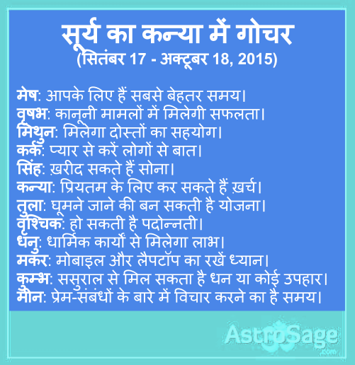 Surya ka kanya mein gochar. Jaane kya kahate hain aap ke sitare.