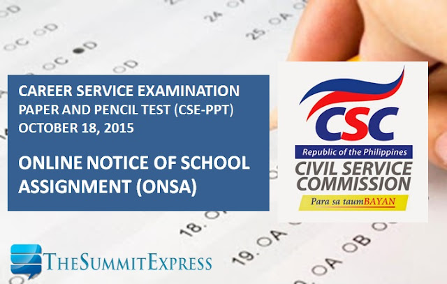 School Assignment (ONSA) for October 2015 civil service exam